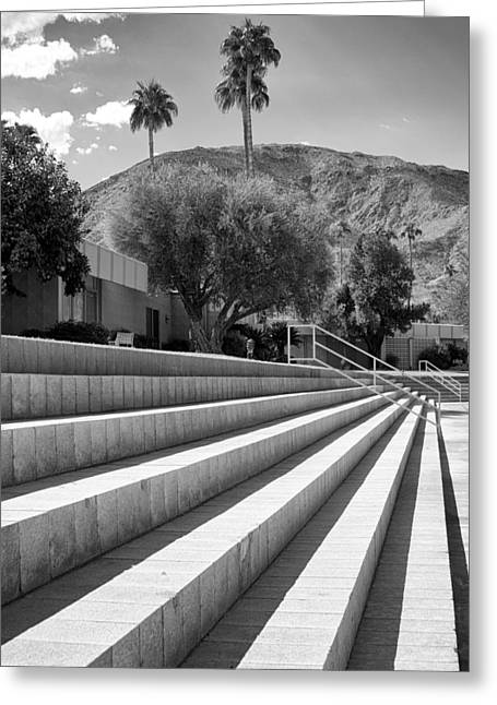 Lawn Chair Greeting Cards - SANDPIPER STAIRS BW Palm Desert Greeting Card by William Dey