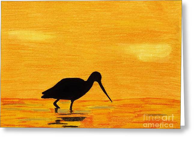 Hand Drawn Pastels Greeting Cards - Sandpiper - Sunset Greeting Card by D Hackett