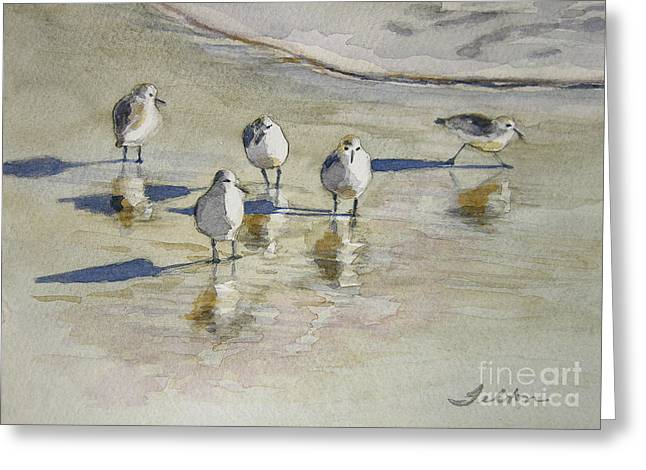 Best Sellers -  - Seabirds Greeting Cards - Sandpipers 2 watercolor 5-13-12 julianne felton Greeting Card by Julianne Felton
