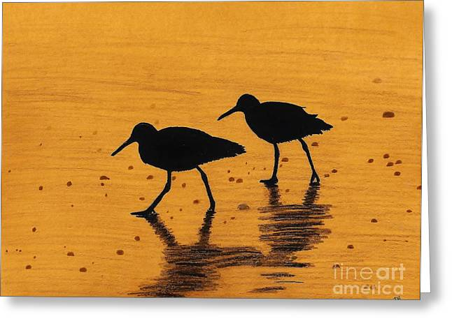Surf Art Drawings Greeting Cards - Sandpipers - At - Sunrise Greeting Card by D Hackett