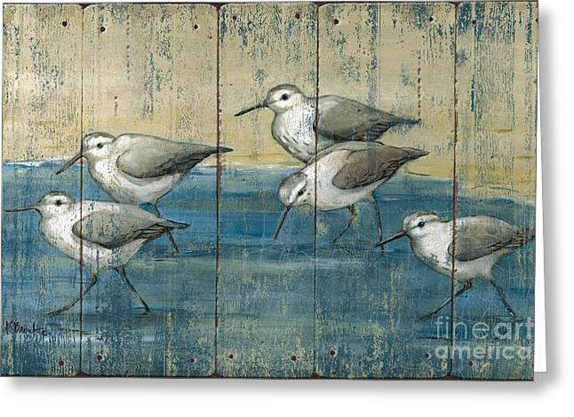 Blue-gray Greeting Cards - Sandpipers Oil Distressed Greeting Card by Paul Brent
