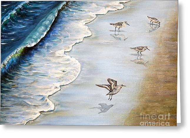 Seabirds Greeting Cards - Sandpipers on the beach Greeting Card by Zina Stromberg