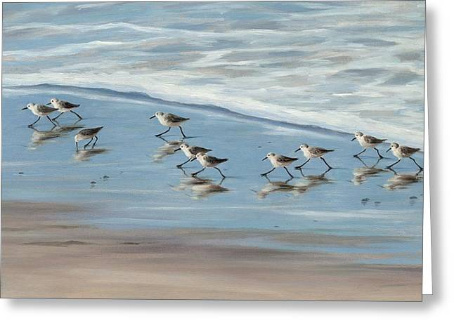 Sandpipers Greeting Card by Tina Obrien