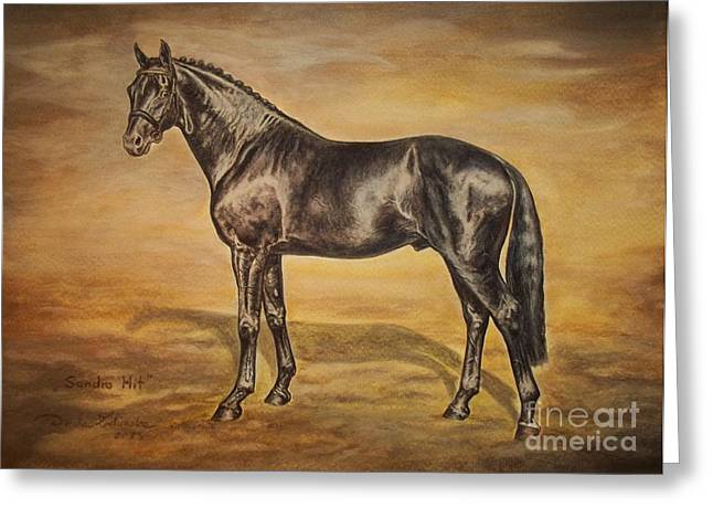 Horse Images Drawings Greeting Cards - SANDRO HIT Oldenburg Stallion Greeting Card by Dorota Zdunska