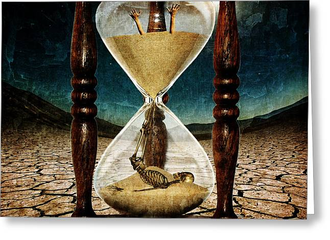 Oniric Greeting Cards - Sands of Time ... Memento Mori  Greeting Card by Marian Voicu