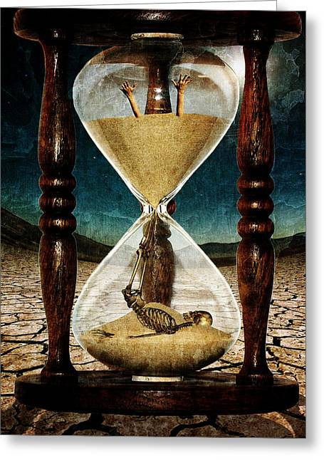 Digital Collage Greeting Cards - Sands of Time ... Memento Mori  Greeting Card by Marian Voicu