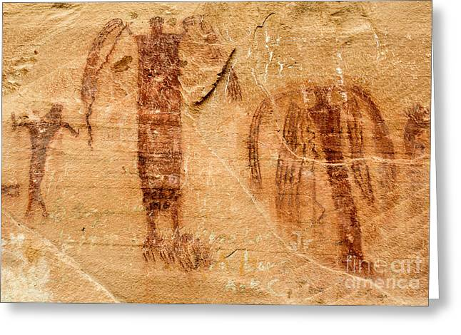 Ancestors Greeting Cards - Sandstone Angels - Buckhorn Wash Pictograph Panel - Utah Greeting Card by Gary Whitton