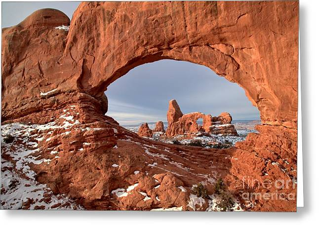 Southern Utah Greeting Cards - Sandstone Arch Window Greeting Card by Adam Jewell