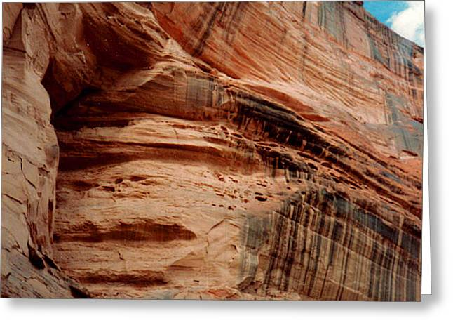 Sandstone Cliff in Canyon de Chelly 1993 Greeting Card by Connie Fox