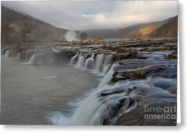 Landsacape Greeting Cards - Sandstone Falls At New River Gorge Greeting Card by Adam Jewell