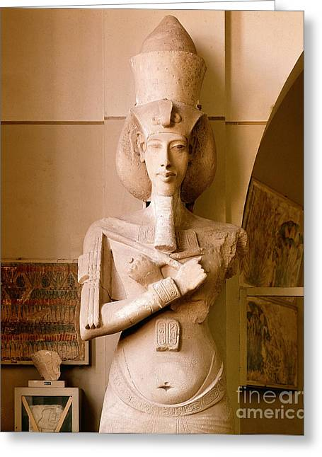Pharaoh Greeting Cards - Sandstone Statue Of Akhenaton Greeting Card by John G. Ross