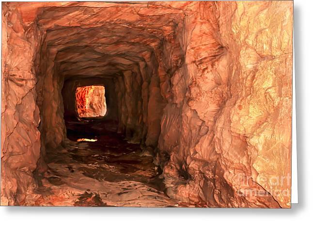 Navajo Basin Greeting Cards - Sandstone Tunnel Greeting Card by Robert Bales