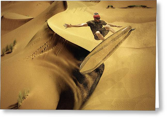 Dunes Mixed Media Greeting Cards - Sandsurfing Greeting Card by Marian Voicu