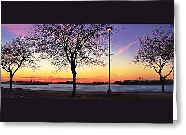 Boats At Dock Greeting Cards - Sandusky Ohio - Shelby Street Boat Launch - Sunset Greeting Card by Shawna  Rowe