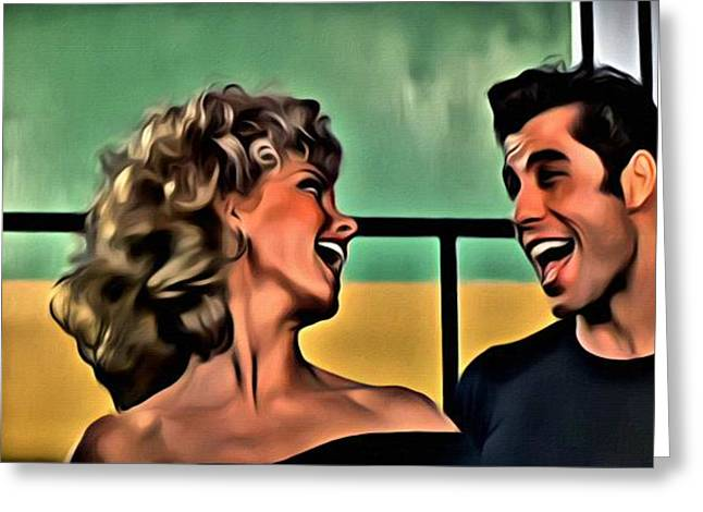 Grease Greeting Cards - Sandy and Danny Greeting Card by Florian Rodarte
