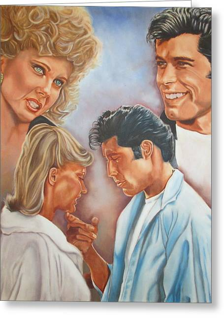 Musical Film Paintings Greeting Cards - Sandy And Danny Greeting Card by Mark Robinson