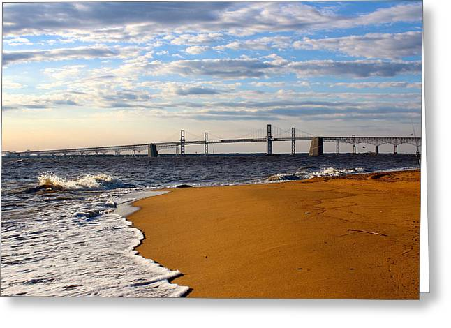 Chesapeake Bay Bridge Greeting Cards - Sandy Bay Bridge Greeting Card by Jennifer Casey