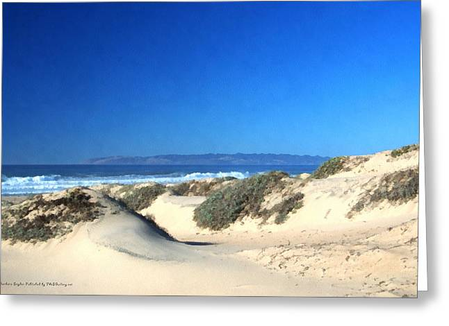 Ocean Art Photos Digital Art Greeting Cards - Sandy Beach At Guadalupe California Watercolor Greeting Card by Barbara Snyder
