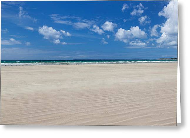 Sandy Beaches Greeting Cards - Sandy Beach, Finistere, Brittany, France Greeting Card by Panoramic Images