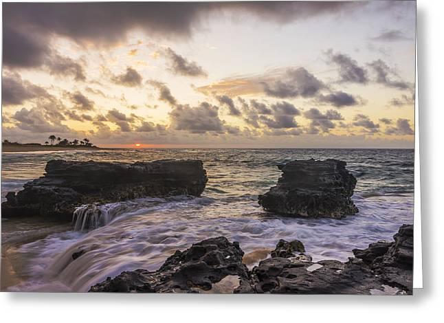 Sandy Beach Sunrise 1 - Oahu Hawaii Greeting Card by Brian Harig