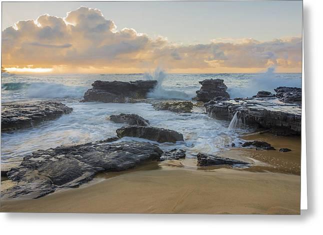 Travel Greeting Cards - Sandy Beach Sunrise 12 - Oahu Hawaii Greeting Card by Brian Harig