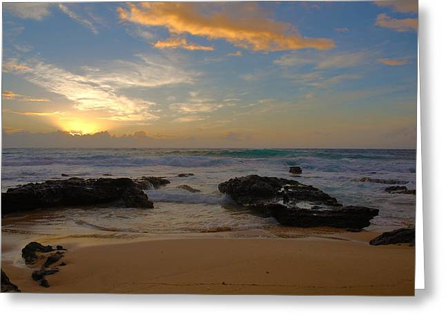 Brianharig Greeting Cards - Sandy Beach Sunrise 3 - Oahu Hawaii Greeting Card by Brian Harig