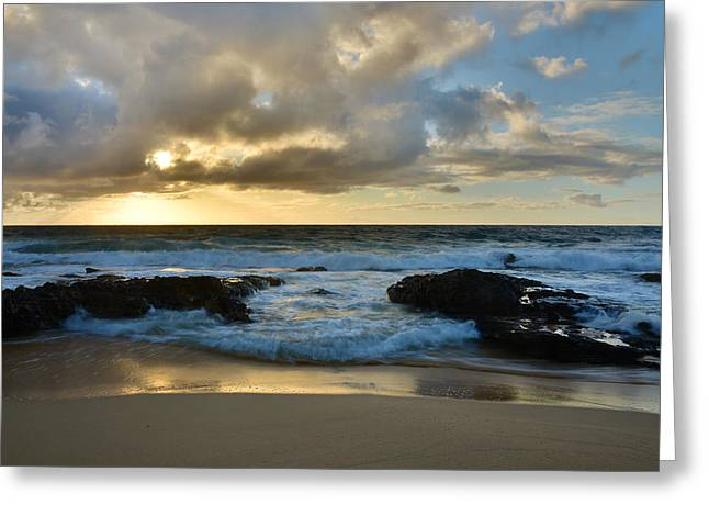 Brianharig Greeting Cards - Sandy Beach Sunrise 4 - Oahu Hawaii Greeting Card by Brian Harig