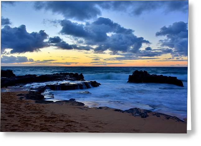 Brianharig Greeting Cards - Sandy Beach Sunrise 6 - Oahu Hawaii Greeting Card by Brian Harig