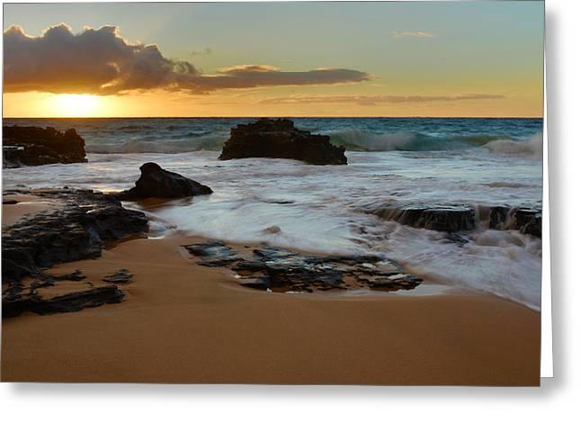 Brianharig Greeting Cards - Sandy Beach Sunrise 7 - Oahu Hawaii Greeting Card by Brian Harig