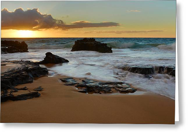 Brianharig Greeting Cards - Sandy Beach Sunrise 7 - Oahu Hawaii Greeting Card by Brian Harig