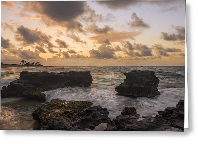 Sandy Beaches Greeting Cards - Sandy Beach Sunrise 8 - Oahu Hawaii Greeting Card by Brian Harig