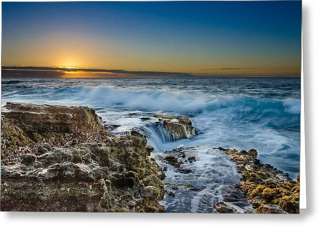 Koolina Greeting Cards - Sandy Beach Sunrise Greeting Card by Tin Lung Chao