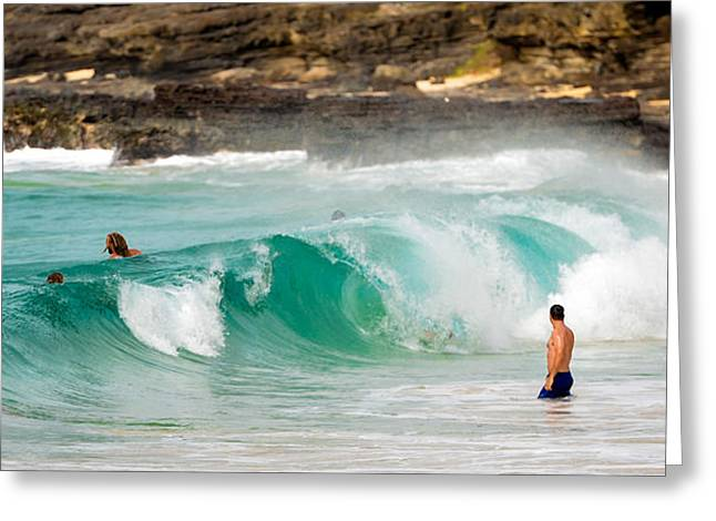 Top Surfer Greeting Cards - Sandy beach wave breaking - Oahu Honolulu Greeting Card by Tin Lung Chao