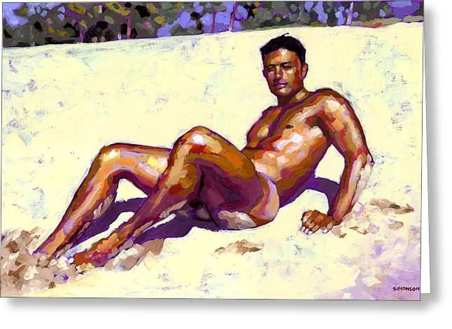 Naked Men Greeting Cards - Sandy Bottom Greeting Card by Douglas Simonson