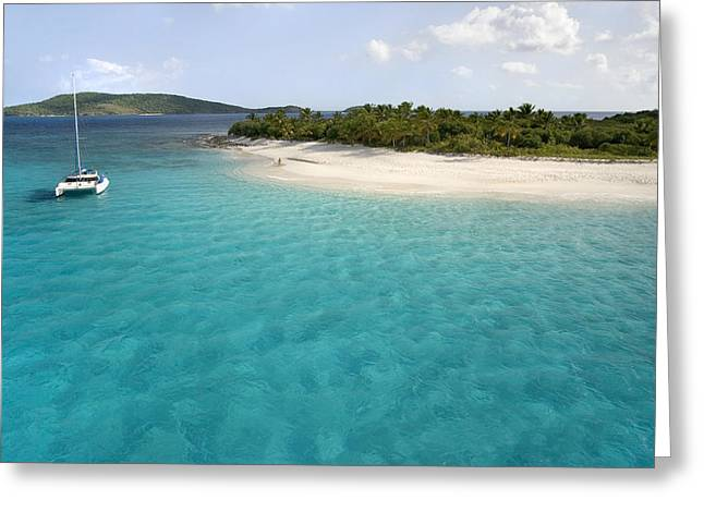 Sailboat Ocean Greeting Cards - Sandy Cay BVI Greeting Card by Bryan Allen