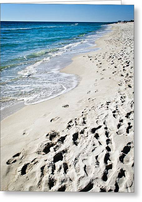 Panama City Beach Fl Greeting Cards - Sandy Footprints Greeting Card by George Taylor