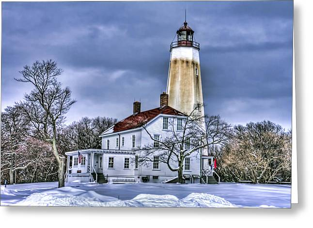 Base Path Greeting Cards - Sandy Hook Lighthouse Greeting Card by Geraldine Scull