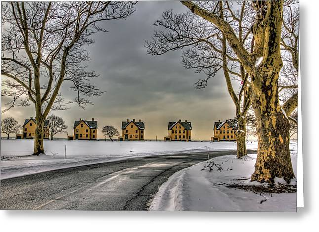 Base Path Greeting Cards - Sandy Hook Officers Row in snow Greeting Card by Geraldine Scull