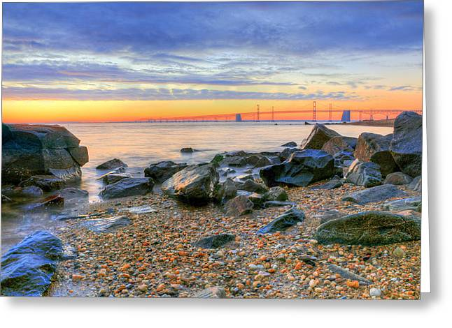 Chesapeake Bay Bridge Greeting Cards - Sandy Greeting Card by JC Findley