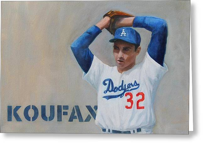 Koufax Greeting Cards - Sandy Koufax Greeting Card by Andrew Cabrera