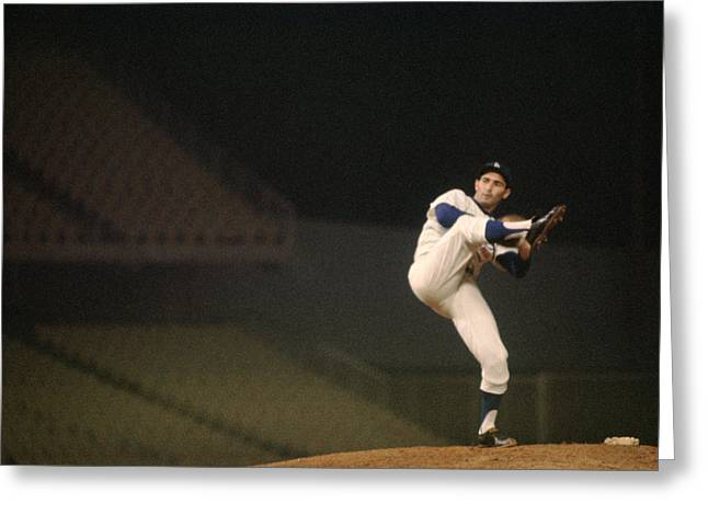 National League Baseball Photographs Greeting Cards - Sandy Koufax High Kick Greeting Card by Retro Images Archive