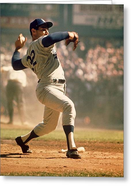 National League Baseball Photographs Greeting Cards - Sandy Koufax  Greeting Card by Retro Images Archive
