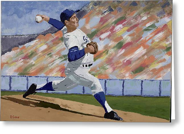 No Hitter Greeting Cards - Sandy Koufax Greeting Card by Ron Gibbs