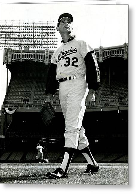 Sandy Greeting Cards - Sandy Koufax Vintage Baseball Poster Greeting Card by Gianfranco Weiss
