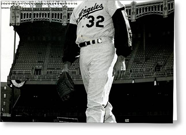 Sandy Koufax Vintage Baseball Poster Greeting Card by Gianfranco Weiss