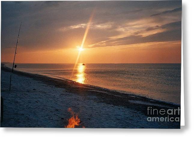 Wheels Tapestries - Textiles Greeting Cards - Sandy Neck Beach Sunset Greeting Card by Lisa  Marie Germaine