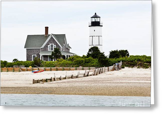 Sand Fences Greeting Cards - Sandy Neck Lighthouse Cape Cod Greeting Card by Michelle Wiarda