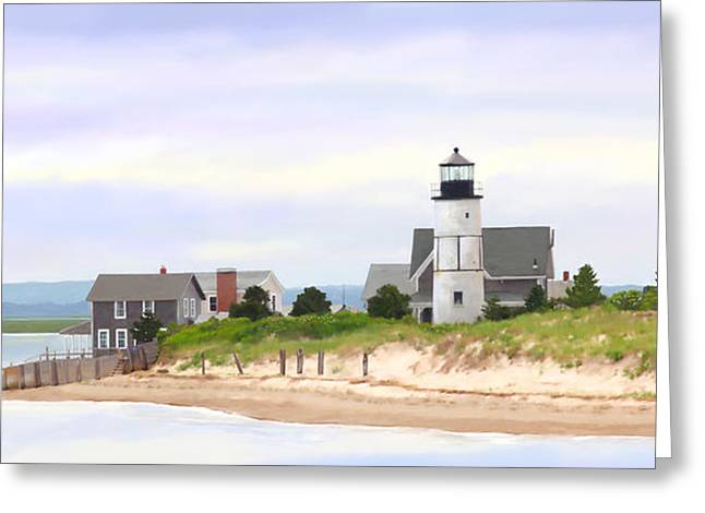 Boats In Harbor Digital Art Greeting Cards - Sandy Neck Lighthouse Greeting Card by Michelle Wiarda
