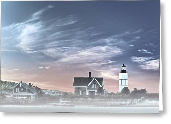 Foggy Beach Greeting Cards - Sandy Neck Lighthouse Greeting Card by Susan Candelario