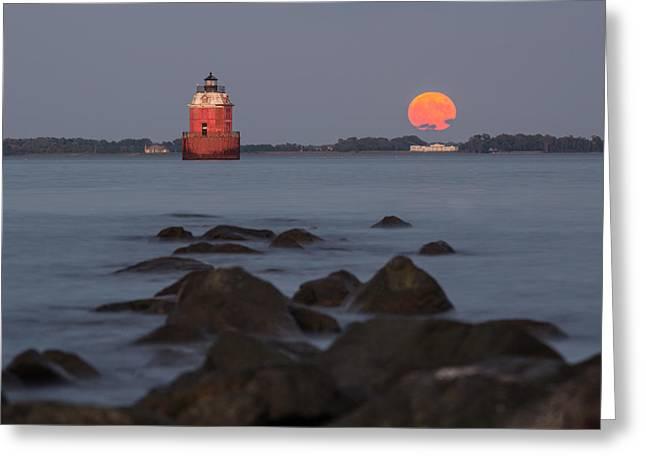 Moonrise Photographs Greeting Cards - Sandy Point Lighthouse Moonrise Greeting Card by Jennifer Casey